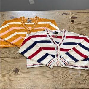 Bundle of 2 button up cardigan sweaters stripe